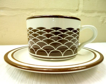 1970's Danish Mod Mayer Cups and Saucer Set of Six