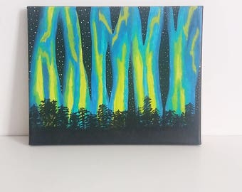 Northern Lights Aurora Borealis & Forest Painting 8x10