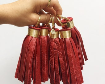 Large Antique Red Leather Tassel Keychain