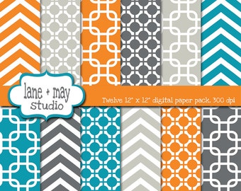 digital scrapbook papers - orange, blue and gray modern geometric patterns - INSTANT DOWNLOAD