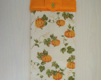 Green, Orange, Pumpkins Hanging Kitchen Towel with Cotton Top, Pumpkin Decor, Kitchen Decor, Fall Decor, Gift for Her, Housewarming Gift