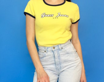 Vintage 90s 2000s Guess Jeans Yellow and Blue Short Sleeve T-Shirt