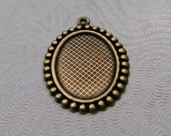 LuxeOrnaments Oxidized Brass Filigree Pendant Setting (18x13mm tray) (Qty 1) 27x19mm S-5821-B