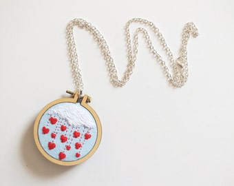 Valentine's day gift, Hearts necklace, embroidered necklace, Best friend Necklace, mini hoop necklace, embroidery necklace