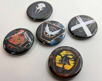 """5 Pack 1.25"""" Tom Clancy's The Division Ubisoft Pin-back Buttons or Magnets"""