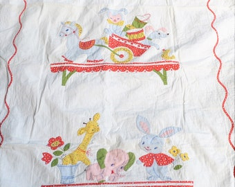 Vintage Hand Stitched Kitschy Embroidered Baby Blanket