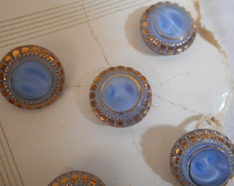 Set of 5 VINTAGE Gold Trim Blue Moonglow Glass BUTTONS