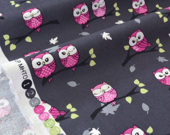 American fabric pink owls gray x 50cm