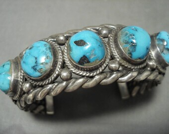 Heavy Heavy! Vintage Navajo Blue Gem Turquoise Coiled Silver Bracelet