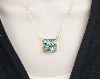Abalone Shell Necklace for Women - Mermaid Necklace -  Abalone Jewelry - Shell Jewelry - Beach Jewelry for Mom Birthday Gift for Mothers Day