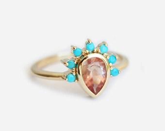 Sunstone Ring, Turquoise Ring, Oregon Sunstone Ring, Turquoise Crown Ring, Orange Sunstone Rings, Sunstone Engagement Ring, MinimalVS, Ring