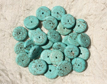 10pc - beads Turquoise synthetic - 11 mm blue Turquoise Rondelles - 4558550018328