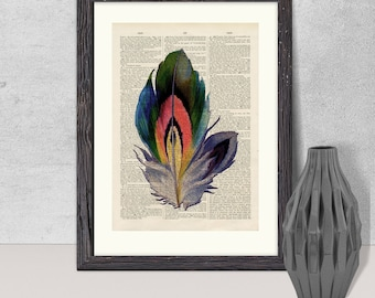 Feather Print - Vintage Feather Illustration Book Page Art Print, Antique Dictionary Page Art Print, Wall Art, Upcycled Book Page Art