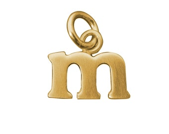 14k Gold Baby Lowercase M Initial Charm