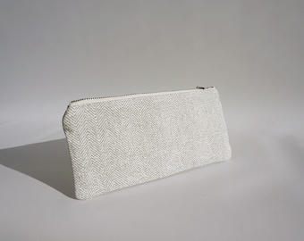 Cotton pencil case for women / Modern gray pouch / Gray pencil case / Zipped pouch / Trousse en coton