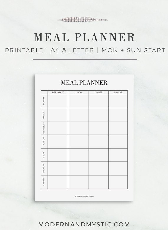 Meal Planner A4 and Letter Size Meal Planner Printable