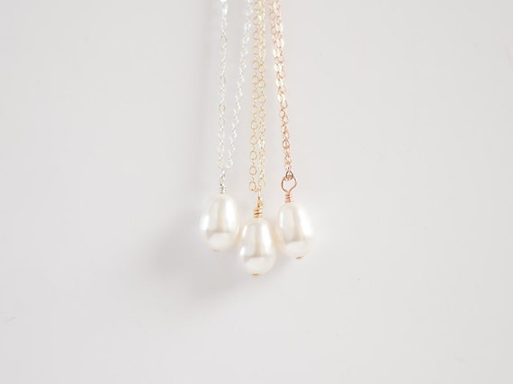 White Teardrop Pearl Necklace   14k Gold Filled   Rose Gold Filled   Sterling Silver   White Pearl Necklace   Bridesmaids Layering Necklace