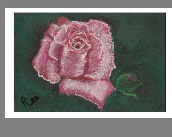 """Print of Original Pastel Artwork, Flower Painting, """"The Beauty of the Pink Rose"""""""