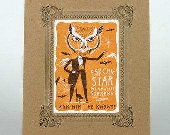PSYCHIC STAR OWL Letterpress Print in a kraft Vignette Mat