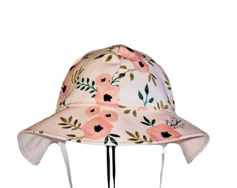 Baby Sun Hat, Pink Floral Sun Hat, Watercolor Blush Rose Or Gold Dots Baby Girl Sun Hat, Newborn Hat, Cotton Toddler Hat, Floppy Beach Hat