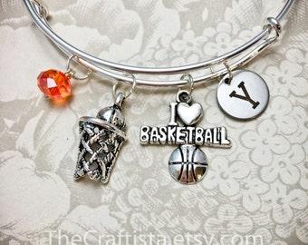 BK, Personalized Basketball Bracelet, Basketball Bangle, Basketball Charm, Gifts for Basketball Players, Adjustable Bangle, Stackable Bangle