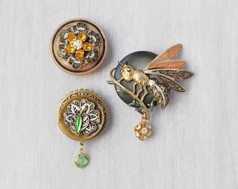 3 Wasp Flower Fridge Magnets -  recycled vintage damascene jewelry and buttons - strong refrigerator magnet set