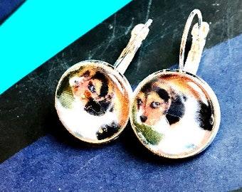 Beagle puppy cabochon earrings- 16mm