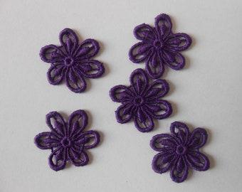 5 flowers in purple guipure of 2.7 cm