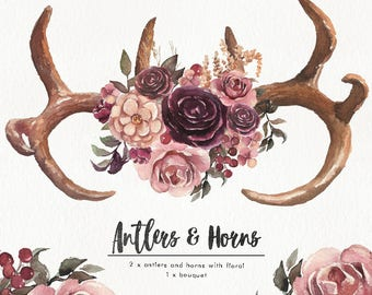Watercolor Antlers & Horns set w/ flower bouquet. Wedding, clipart, vintage, collection, individual PNG, hand painted, boho, rustic, fashion