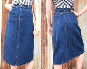 "70's High Waisted Denim Pencil Skirt / Brittania / 27"" waist"
