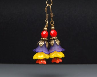 Bead Dangles Vintage Style Purple Lucite Flowers with Colorful Glass Beads Earrings Pair