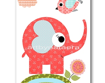 Elephant Nursery Print Kids Art Digital file Children Art Kids Print Baby Girl Nursery Art Baby Girl Room Decor 8x10 11X14 INSTANT DOWNLOAD