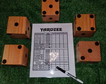 Handcrafted Yardzee Game Large Dice and Scorecard