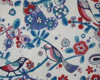 SPECIAL--Blue and Red Larkspur Bird Print Pure Cotton Fabric by Alexander Henry--By the Yard