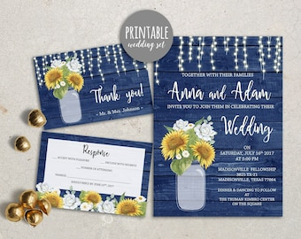 Rustic Wedding Invitation Sunflower Wedding Invitation Printable Wedding Invitation Blue Yellow Wedding Invite Fall wedding invitation set