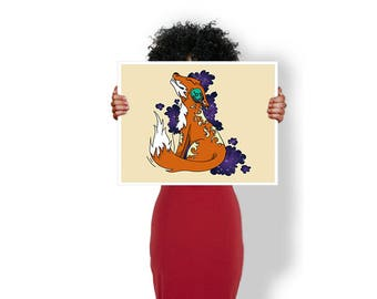 Fox Dj Headphones Music - Art Print / Poster / Cool Art - Any Size