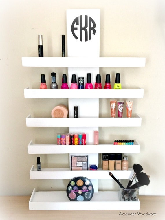 Wall Mounted Makeup Shelf - Makeup Organizer - Nail Polish Holder - Make up  shelf - Monogramed Makeup Organizer - Hanging makeup shelf