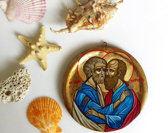 Peter and Paul the Apostles, small handpainted icon, round icon orthodox style - 4 1/3 inches