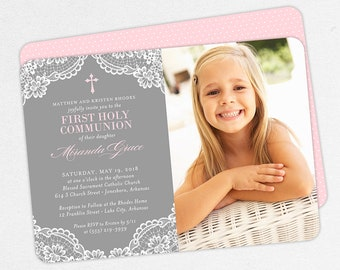 Photo First Communion Invitations, Gray and Pink Communion Invitations, Lace First Communion invitations, Girl First Communion Invitations