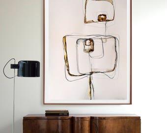 Original large abstract, abstract drawing, modern art, minimal, ink art painting, minimalist painting, abstract wall art, abstract painting