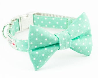 Mint Dot Bowtie Dog Collar