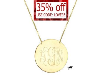 "Monogram Disc necklace - 5/8"" personalize gold monogram necklace gold plated 18k on .925 silver"