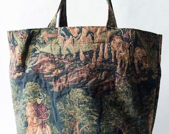 Hand-sewn Cloth Bag - Fox Hunt Fabric - Handbag - Purse