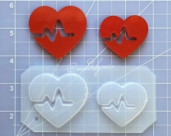 ON SALE Heartbeat flexible plastic resin chocolate mold set (2 cavity)
