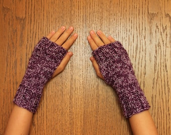 Hand Knit Fingerless Mittens/Texting Gloves - Purple variegated Wrist Warmers- One Size Fits All
