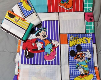 Vintage 90's Cool Mickey Disney Mickey Mouse Double Flat Sheet & 2 Pillowcases *Crisp And New