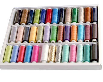 1 Box Reel Spools Polyester Sewing Thread For Hand & Machine Mixed  39 Colors 200 Yard  36 Colors 400 Yard