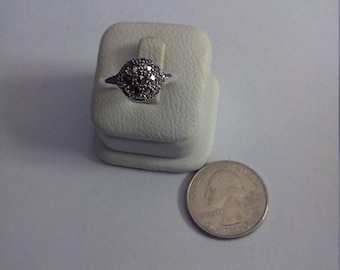 Vintage Sterling Silver Marcasite Ball Ring, Size 7 3/4