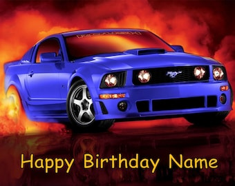 Blue Ford Mustang Car Edible Image Cake Topper Personalized Birthday 1/4 Sheet