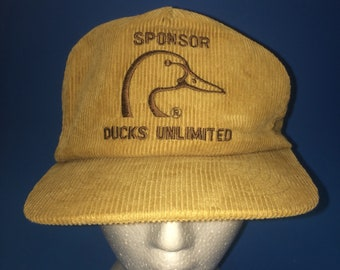 Vintage Ducks Unlimited Trucker SnapBack Corduroy 1980s